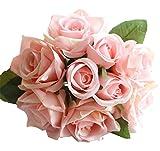 MARRYME Mazzo Fiore Artificiale Tocco Realistico Fiori Finti Rose Decorazione Floreale Rosa Pesca