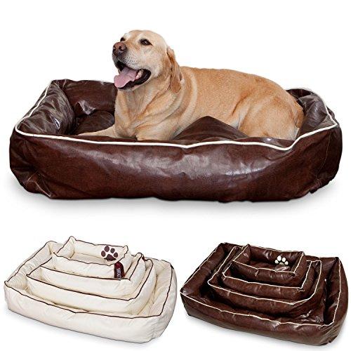 Unbekannt Smoothy Hundekorb aus Leder; Hunde-Körbchen; Hundebett für Luxus Vierbeiner; Braun Größe L (106x74cm)