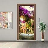 Haipeiy Türaufkleber 3D Tür Aufkleber Wohnkultur Schiebetür Aufkleber Landschaft Deursticker Selbstklebende Abnehmbare Tapete Auf Der Tür Poster 5Z