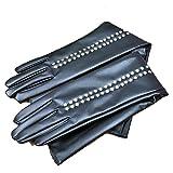 Emmay Frauen Reiten Ein Fahrrad Fahren Diamant Handschuhe Warme Mode Lederhandschuhe Party Stil Fäustlinge Mädchen (Color : Schwarz, Size : One Size)