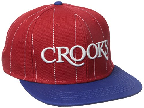 Crooks and Castles Men's Serif Crooks Woven Snapback Hat Red