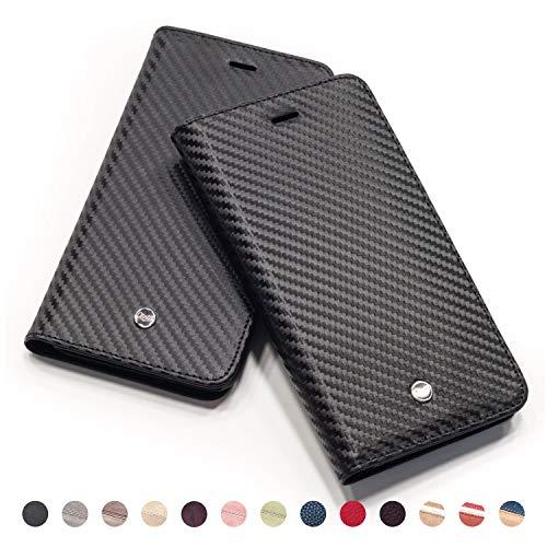 QIOTTI Hülle Kompatibel mit iPhone 8 I iPhone 7 Ledertasche aus Hochwertigem Leder RFID NFC Schutz mit Kartenfach Standfunktion in Carbon