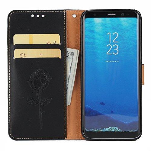 Gemischte Farben Rose Blume matt Premium PU Leder Brieftasche Stand Case Cover mit Lanyard & Card Slots für Samsung Galaxy S8 Plus ( Color : Purple ) Black