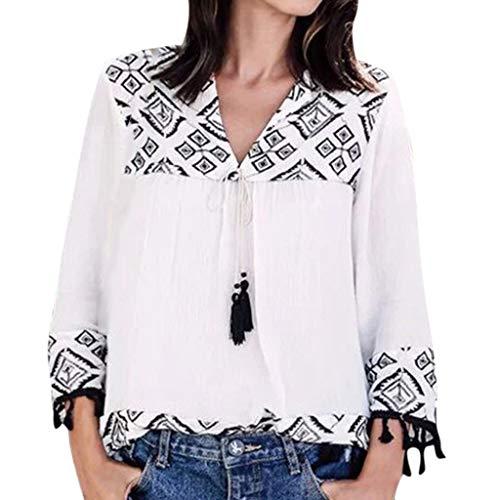 ❤️ AG&T ❤️ Frauen V-Ausschnitt Print Quaste Bandage Langarm Bluse Shirt Tops -