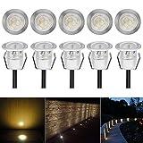CHNXU LED Einbaustrahler Ø30mm 0.6W Treppen Einbauleuchten IP67 Wasserdicht Bodeneinbaustrahler Aussen Lampe (Warmes Weiß, 10er-Set)