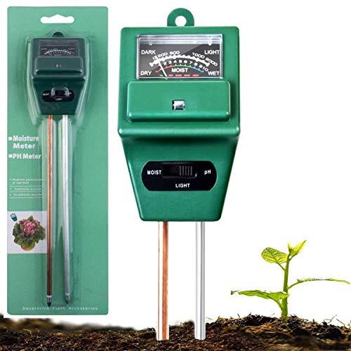 AIBIDUO 3-in-1-Messgerät für den Boden, mit pH-Meter, Licht- & Feuchtigkeitsmessgerät, Säuretester, ideal für Garten, Bauernhof, Rasen, drinnen & draußen (kein Akku erforderlich)
