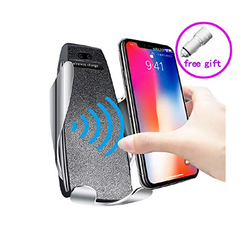 Automatic Qi Wireless Car Charging Mount Fast Auto-Clamping Car Mount Phone Holder Charger Windshield Dashboard Air Vent Compatible with HTC Sony Nokia iPhone Samsung (Iphone 6 Plus Suction Cup Mount)