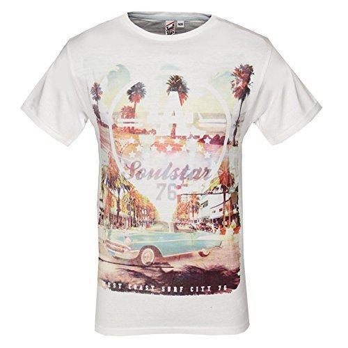 Herren T-Shirt Soulstar Cruz Neu Surf City Grafik Drucken Oben Baumwolle Rundhals T-Shirt Weiß