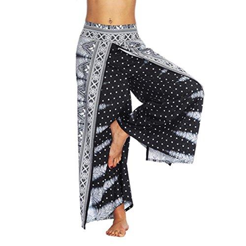 Quaan Damen Casual Hosen Thailand Indonesische Digitaldruck Lose Breite Beinhosen Bohemia Yoga Hosen (M, Schwarz)