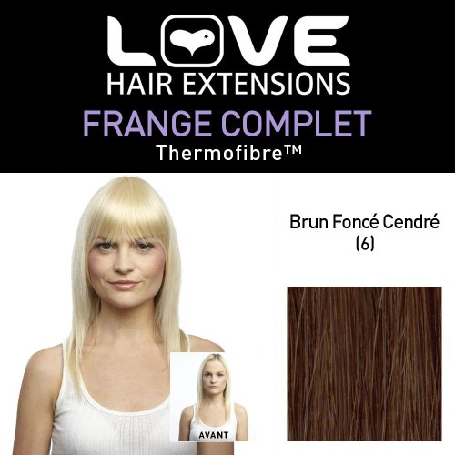Amor Extensiones de cabello - IPL / FRK1 / QFC/CIF / 6 - termofibra (TM) - Full Clip-In Bangs - 6 Color - Marrón Oscuro Ceniza
