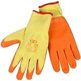 12 Pairs Of Builders Gardening DIY Latex Coated Work Gloves - Orange (Size 9)