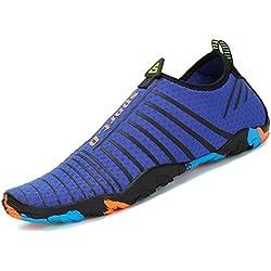 Saguaro Skin Shoes Descalzo acuático Aqua Calcetines para de Nadada de la Playa de la Resaca de la Yoga,Rayas Blanco,43 EU