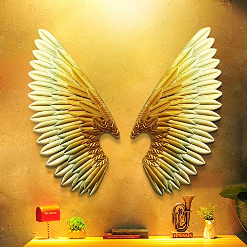 Kostüm Engel Flügel Gold - zxyzky Vintage Shabby Chic Gold Engel Flügel Wand Skulptur Dekoration Einzigartige Weihnachtsdekoration Wandskulptur Feentür Erhältlich in Gold, (Gold, Trompete)