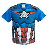 Marvel Avengers - T-Shirt Maniche Corte - Captain America Iron Man Black Panter - Bambino - Prodotto Originale con Licenza Ufficiale 8431ES [Blu Captain America - 4 Anni - 104 cm]