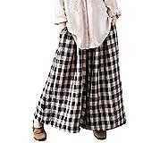 Sunenjoy Pantalon Large Jambes Fluides pour Femmes Confortable Elastiqué Coton Lin...