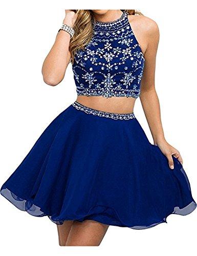 Stillluxury Damen A-Linie Kleid Gr. 34, königsblau (Jeweled Kleid Chiffon)