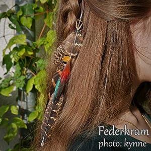braune Fasan 8 Feder Haar Extension, Haarschmuck Clips Haarspange Vogel Federschmuck Federkram handgemacht