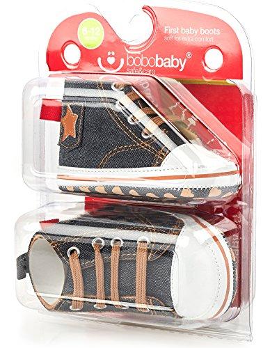 Bobobaby Baby Mädchen und Jungen Bobobaby Babyschuhe Hausschuhe ZB-143 Jeans-Beige