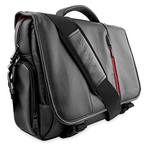 Laptop Bag, Snugg - Messenger Bag, Nero Borsa in Ecopelle per il Vostro Laptop, Notebook, Tablet - Per Laptop Fino a 15.6""