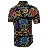 Clearance Mens Shirts Casual, Bestoppen Mens Summer Short Sleeve Bohe Floral Shirt Beach Holidays Linen Basic Tops Plus Size Slim Fit Printed T Shirt Blouse (L, Black)