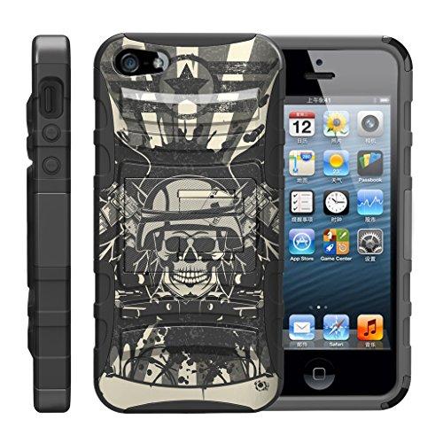 TurtleArmor - Kompatibel für Apple iPhone SE Hülle, iPhone 5 / 5S [Hyperschock] Robuste Hybrid-Hartschale mit Ständer Clip Militär-Roboter Android Design -, Military Skull
