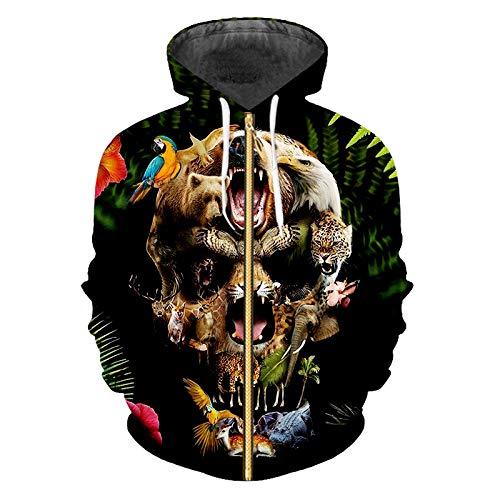 Ai Ya-weiyi Zipper Hoodies Homme Nouveau Tops Lâche Imprimée en 3D Et des Plantes À Fleurs Crâne Big Size 5XL Unisex Hooded Zip Sweat-Shirts