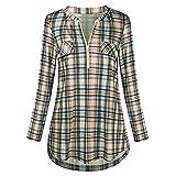 Bestow Camisa con Estampado de Tela Escocesa de Las Mujeres Top asual Manga enrollada con Cremallera con Cuello en v Impreso Blusa(Amarillo,L)