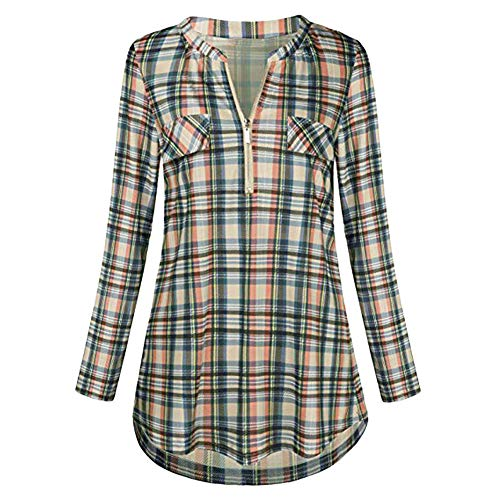 b8982fe5 ReooLy Womens Casual Rolled Sleeve Zipped V-Neck Plaid Printed Shirt Tunic  Tops Blouse Yellow