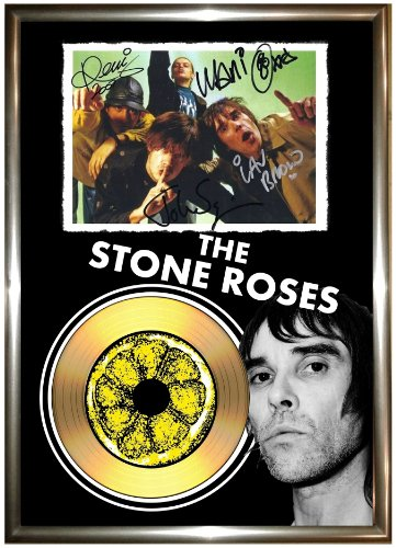 THE STONE ROSES, FIRMATA IN ORO CON DISCHI IN VINILE CD & PHOTO DISPLAY IAN BROWN LP