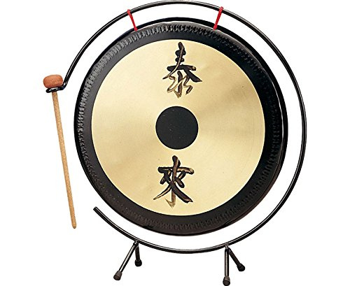 Betzold Musik 84316 - Tisch-Gong mit Metall-Stativ, Fengshui, Effekt-Klänge Klassensignale, Oberfläche: 25cm, inkl. Schlägel - Gongs Ruhesignal Signal