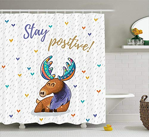 werert Moose Shower Curtain Set, Quote Stay Positive Motivational Deer Boho Retro Colorful Antlers Under The Rain Hearts, Fabric Bathroom Decor with Hooks, 72 X 72