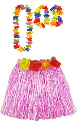 Damen Hawaiian Hula 40cm oder 80cm lang Hula Rock & Lei Hula Halskette Armband Fancy Dress Set Hochzeit Henne Nacht (Einheitsgröße, Rosa (40cm)) (Langer Hula Rock)