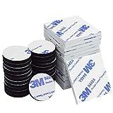 Blocs adhésifs Double Face - 50pièces - Coussinets adhésifs en mousse 3M - Coussinets de fixation, carrés et ronds, Noir et Blanc