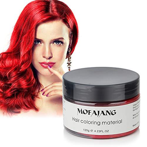 120g Farbiges Haarwachs, MOFAJANG Haarfarbe Wachs Haarcreme Styling-Haarwachs Männer und Frauen Haar Pomaden, Feuchtigkeitsspendende Modellierung Fluffy Matte Haar Schlamm Creme- Rot - Rotes Haar Creme