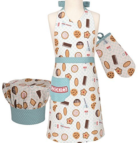 Handstand Kitchen Child's 'Milk and Cookies' Apron, Mitt and Chef's Hat Gift Set