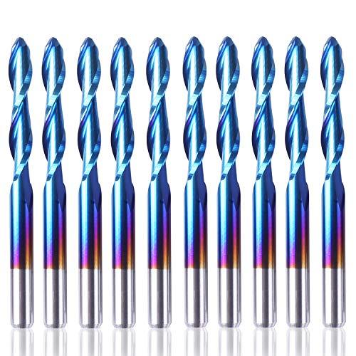 SainSmart Genmitsu 10 Stücke Nano Blau Mantel Kugelkopffräser CNC Fräser, 1/8