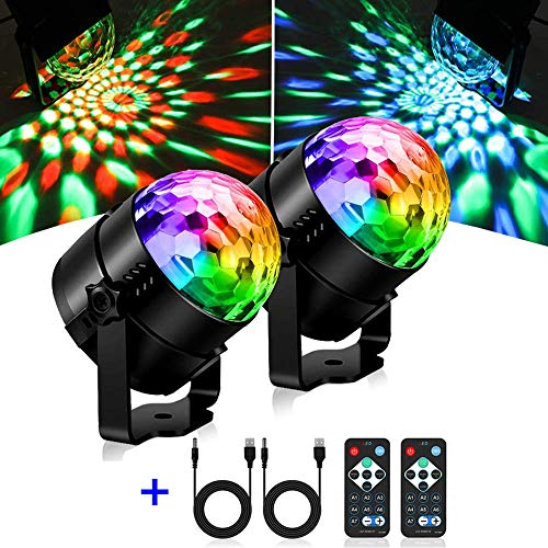 Discokugel LED, SOLMORE Party Lampe 2 Stück mit Fernbedienung Musikgesteuert RGB 11 Modi Disco Lichteffekte für Dekoration Party Bar Club Disco Karneval, USB-Kabel