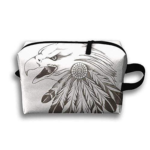 Portable Travel Toiletry Pouch Travel Bag Toiletry Bag Buggy Bag US Bald Eagle Feather Clutch Bag with Zipper