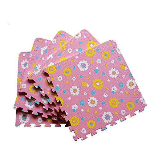 Spesso tappetino antiscivolo, cuciture stuoie mat mat nella porta, pad fiore modello piede verde rosa, (Spesso Cucina Tappeti)