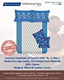 Amway Bombay Dyeing Luxury Cotton White & Blue Floral Printed Double Bedsheet With 2 Pillow Covers & 2 Cushion Covers Set