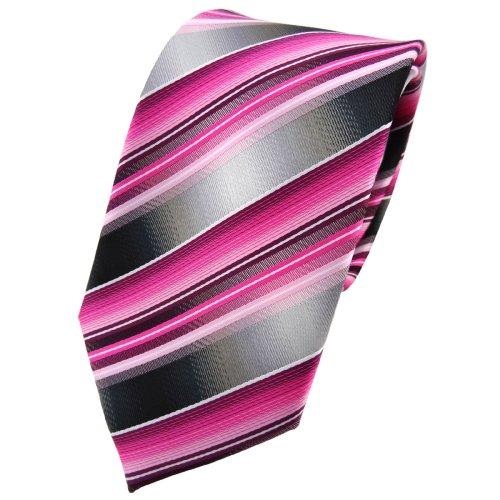 TigerTie Krawatte in rosa pink magenta anthrazit silber grau gestreift - Schlips Tie Binder