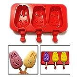 Itian Muffa di Popsicle in Silicone per DIY Home Made Ghiaccioli - Coniglietto(Rossa)