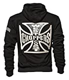 West Coast Choppers Zip Hoody Cross Panel, Farbe:black;Größe:4XL