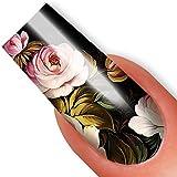 Nailart NAIL TATTOO STICKER - Full-Cover - Zhostovo / Blumen - grün / pink / schwarz