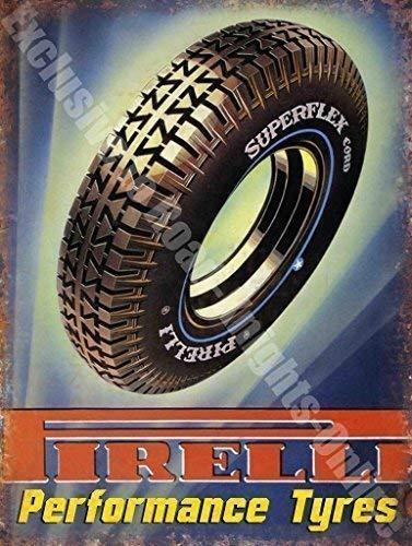 RKO Pirelli Performance Pneumatici Auto & Moto Vintage Garage Metallo/Insegna in Acciaio - 15 x 20 cm