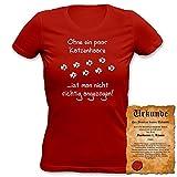 Ohne ein paar Katzenhaare ist man nicht richtig angezogen! Motiv Sprüche T-Shirt Gr. 34-36 S in rot für Damen : )