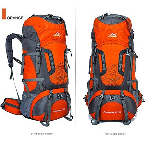 Die neue Outdoor-Sporttasche Bergsteigen Tasche 80 Liter Rucksack mit großer Kapazität Reiserucksack Klammer Bergsteigen Orange