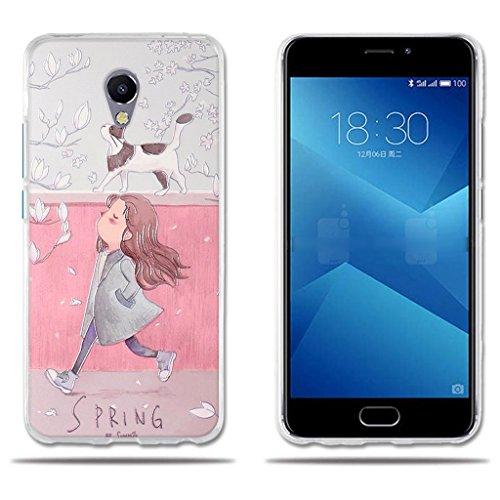 Meizu M5 Note 5 Hülle,FUBAODA[Mädchen und Katze]Transparente Silikon Clear TPU Fashion Creative 3D zeitgenössischen Chic Vintage Retro Style Slim Fit Vollschutz Anti Schock Design für Meizu M5 Note 5