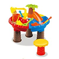 YAHAMA Sand and Water Play Table, 22Pcs Kids Plastic Sand Pit Set Sand and Water Play Toy