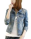 Frauen Mäntel Herbst und Winter Damen Jeansjacke Vintage Langhülse Lose Mädchen Jeans Mantel Beiläufige Outwear Hellblau XS